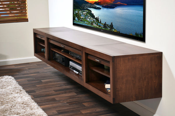 floating tv stand eco geo mocha woodwaves. Black Bedroom Furniture Sets. Home Design Ideas
