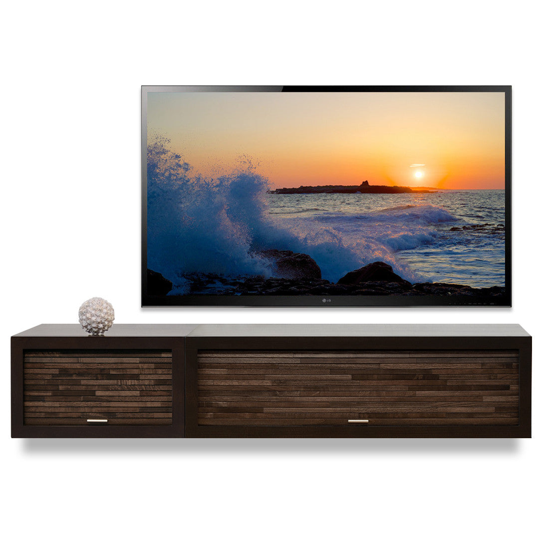 Floating Entertainment Stand Eco Geo Espresso 2pc on Beach Style Mid Century Modern