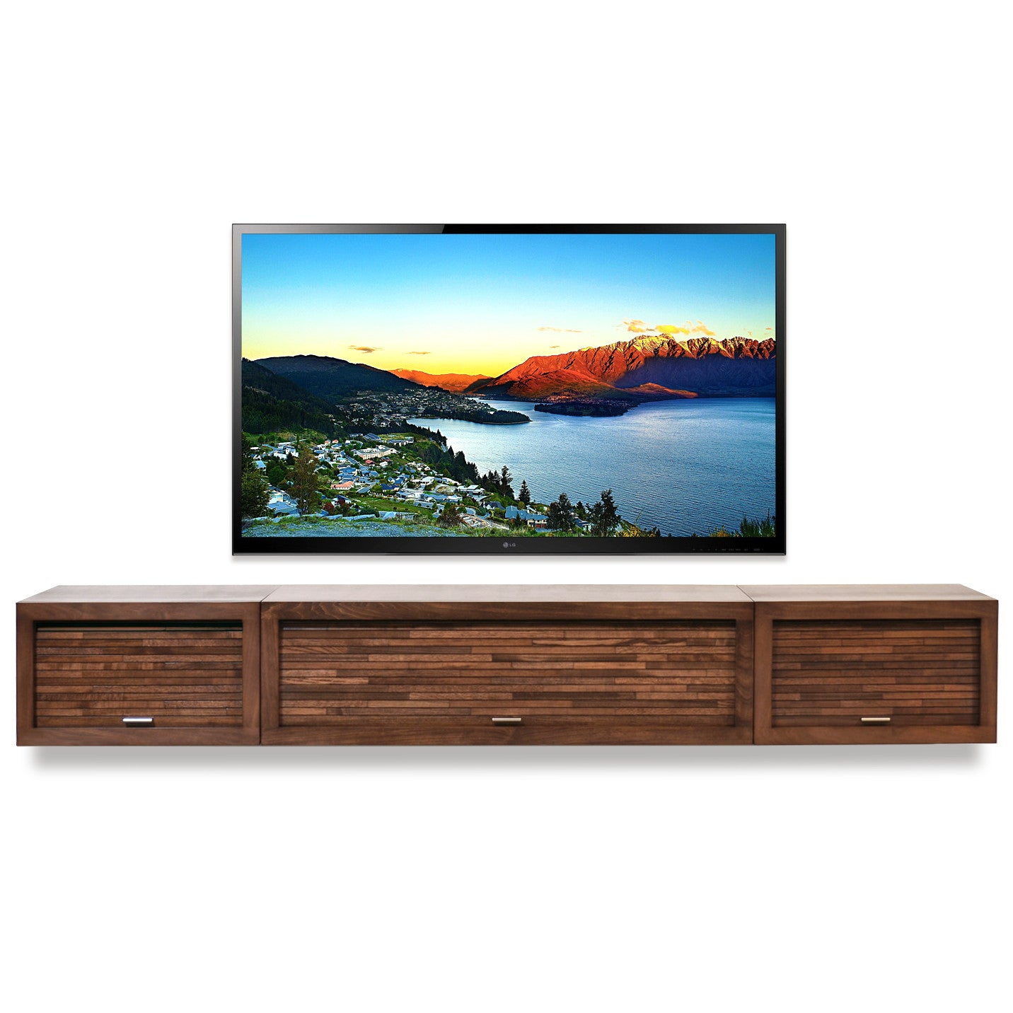 wall mounted floating tv stand center eco geo mocha
