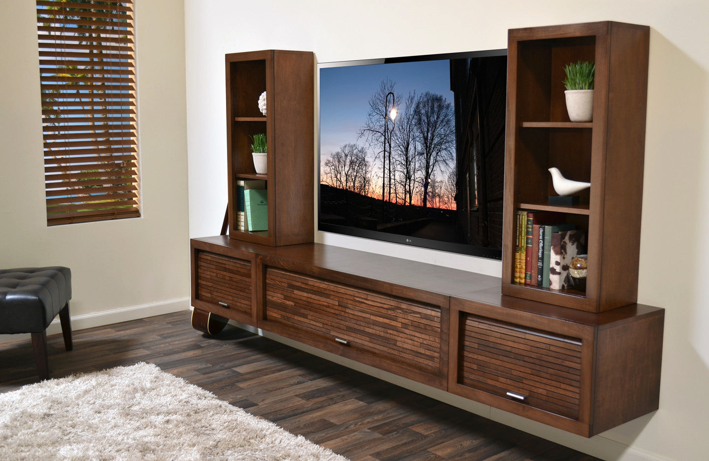 floating center wall mount tv stand eco geo mocha wall mounted floating tv