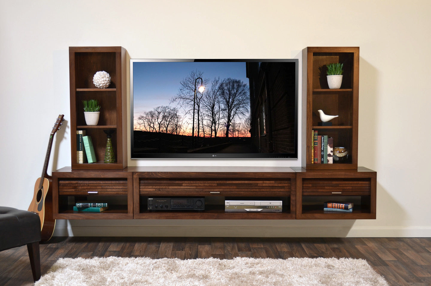 floating entertainment center wall mount tv stand  eco geo mocha  - floating entertainment center wall mount tv stand  eco geo mocha