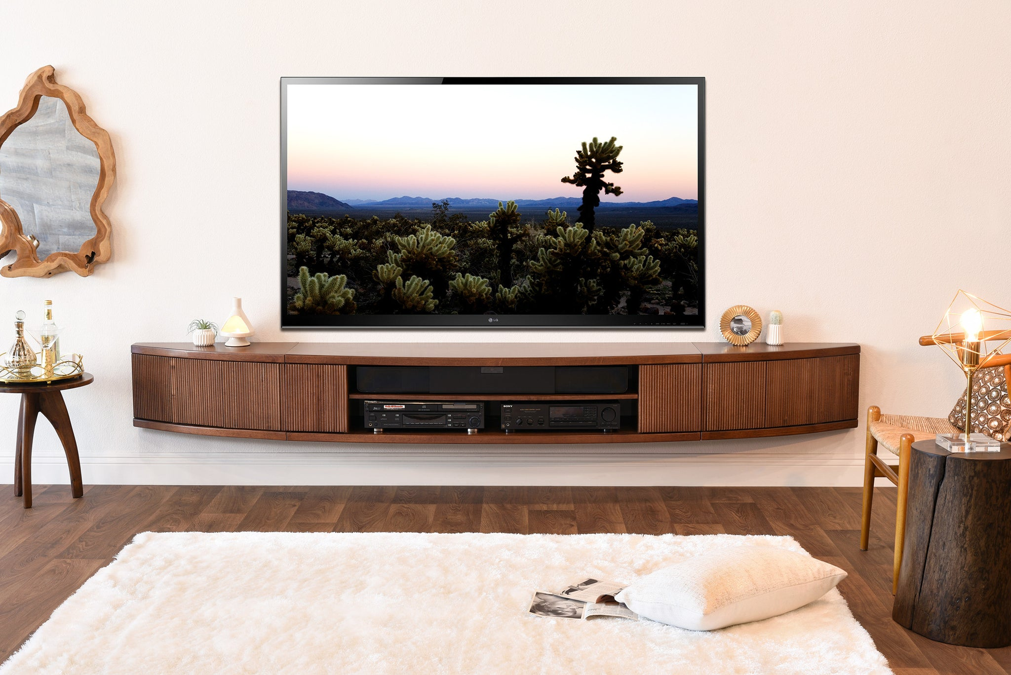 Floating TV Stand Mid Century Modern Entertainment Center - Arc ...
