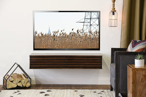 Modern Floating TV Wall Mount Stand - Lotus - Russet Brown