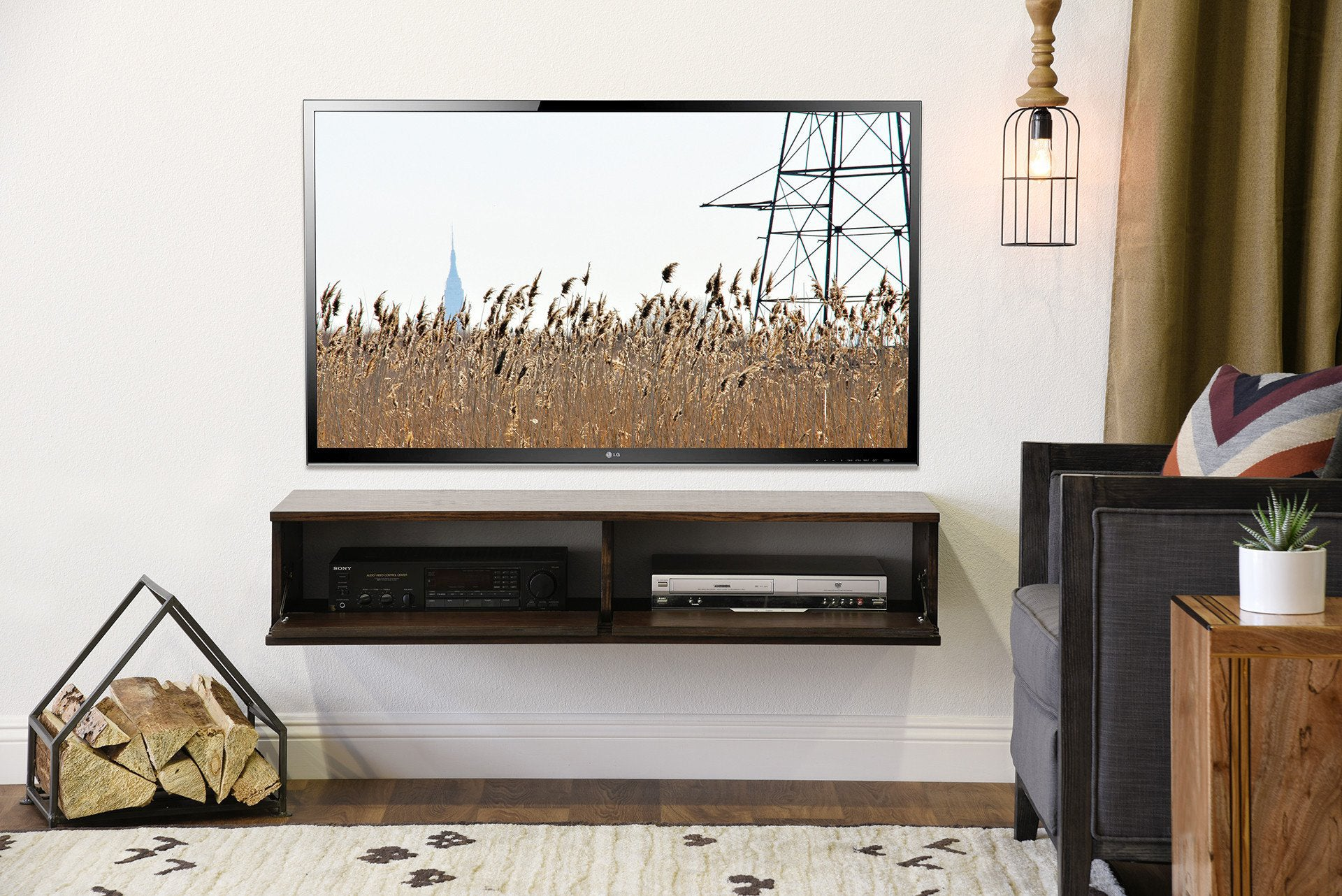 sports shoes b5ab9 41d6a Modern Floating TV Wall Mount Stand - Lotus - Russet Brown