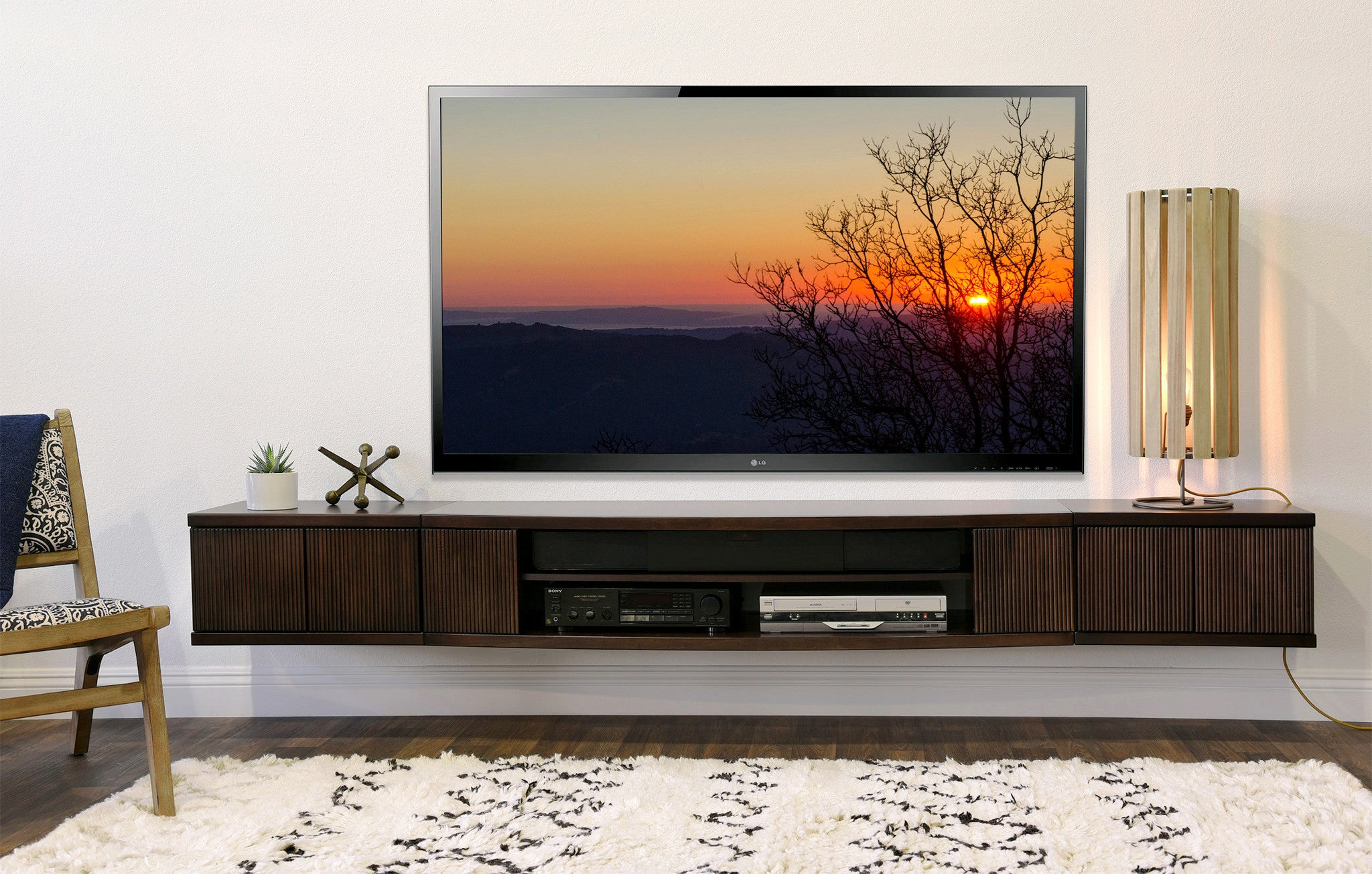 floating wall mount entertainment center tv stand curve. Black Bedroom Furniture Sets. Home Design Ideas
