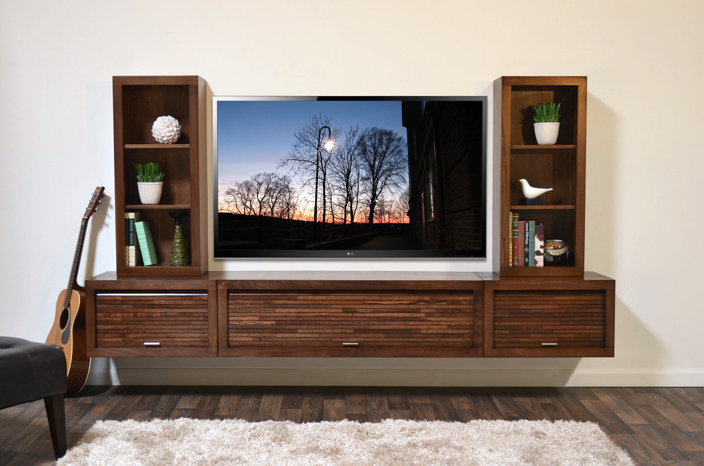 Floating Entertainment Center Wall Mount TV Stand ECO GEO Mocha Woodwaves