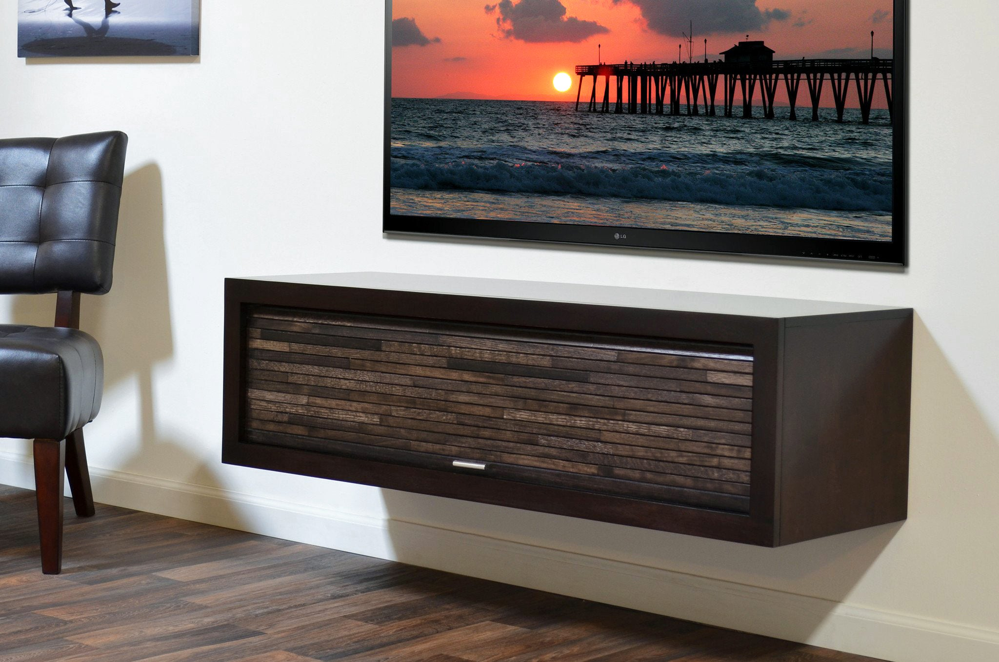 minimalist floating tv stand   eco geo espresso   woodwaves