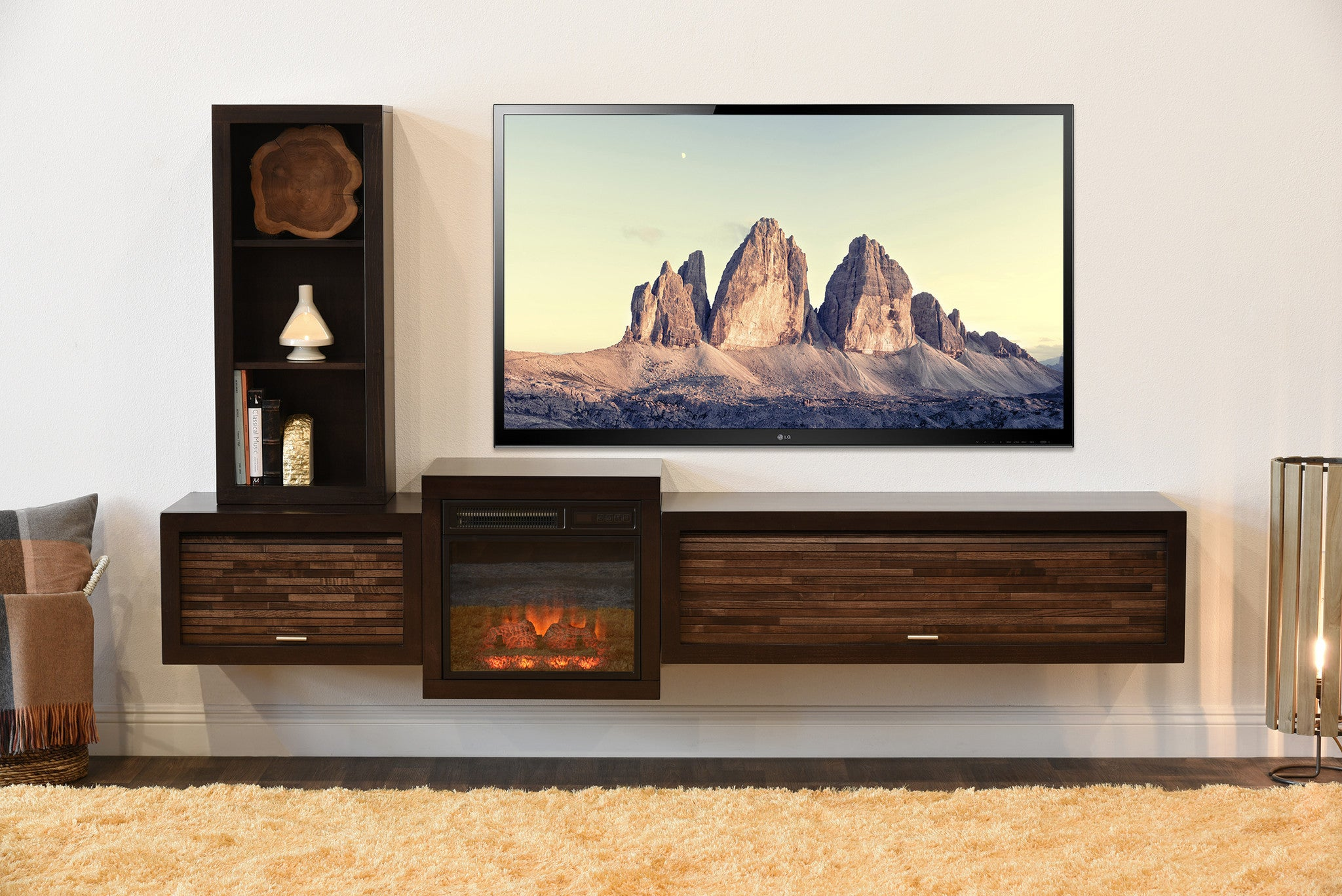stand mocha floating mounted woodwaves fireplace eco shelves wall with tv entertainment of geo