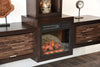 Floating Wall Mount Media Console With Fireplace and Bookcase - ECO GEO Espresso