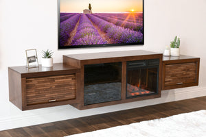 Floating Fireplace Entertainment Wall TV Console - ECO GEO Mocha