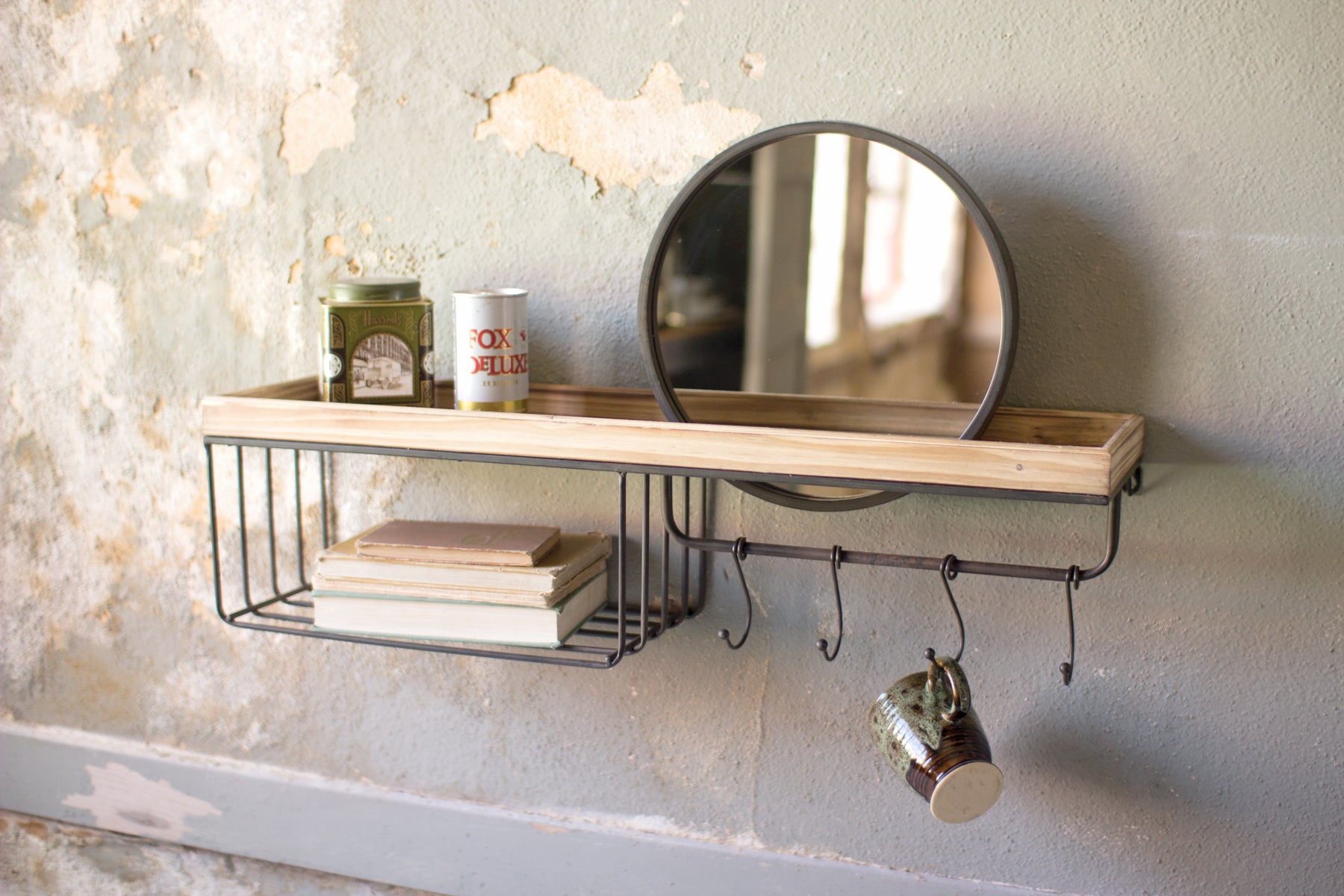 Floating Rustic Wood and Iron Mirror Shelf With Storage Basket and Hooks
