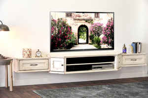 French Farmhouse Cottage White Floating TV Stand Wall Mount Entertainment Center - Vintage