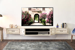 French Farmhouse Shabby Chic Antique White Floating TV Stand Wall Mount Entertainment Center - Vintage - 3 Piece