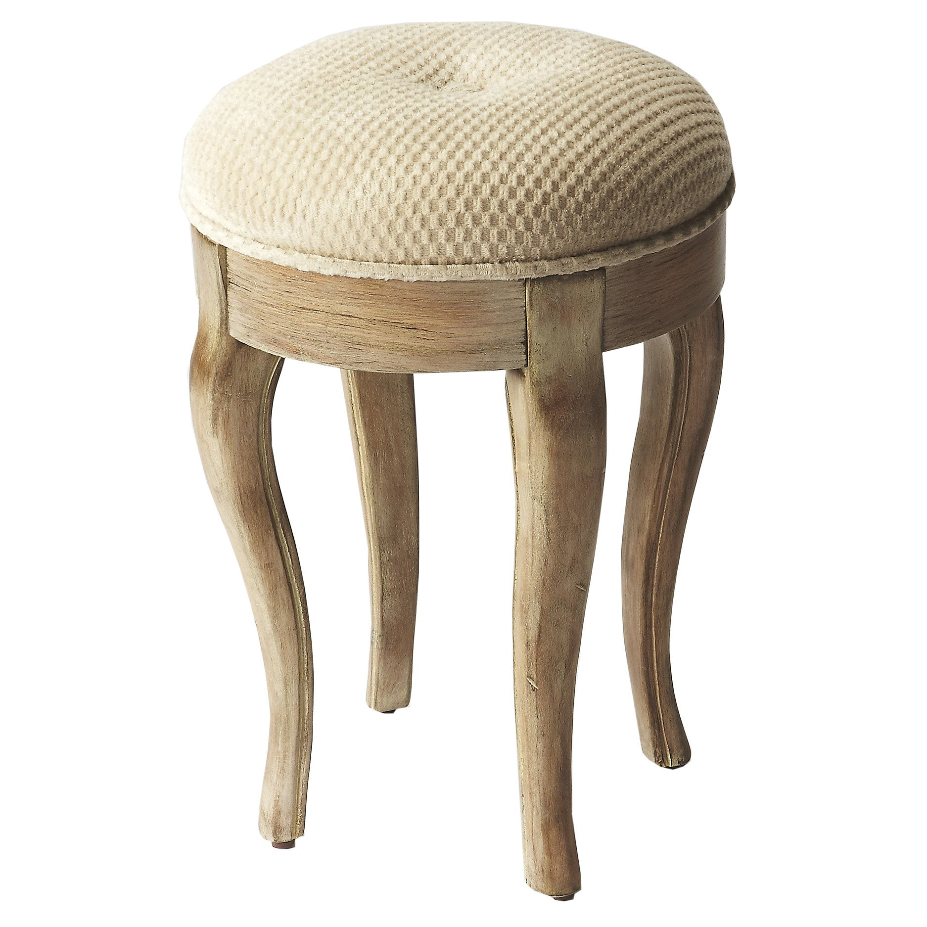 Round Rustic French Style Vanity Stool