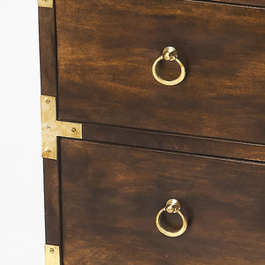 Nautical Wood and Brass Detail 3 Drawer Chest