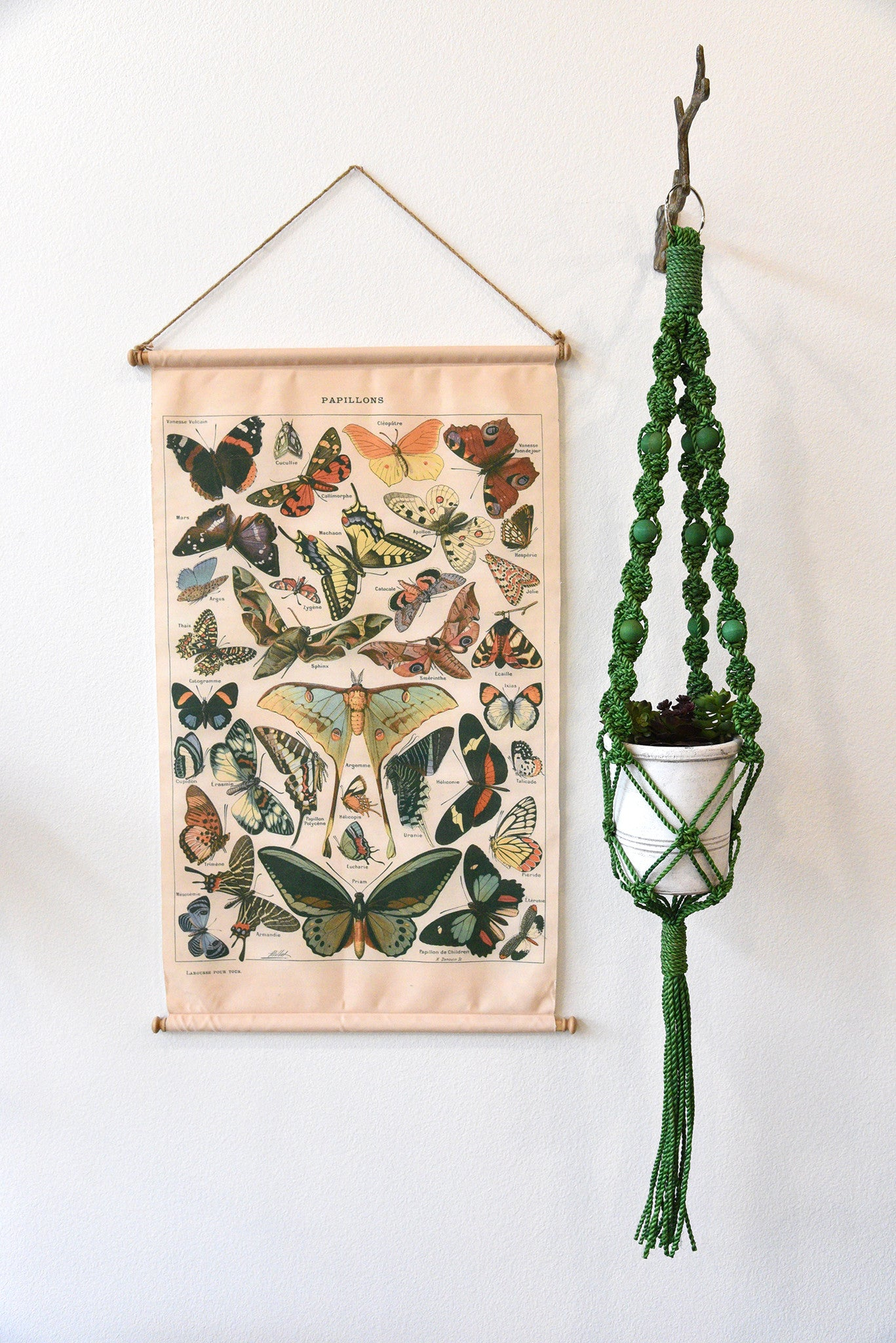 Green Retro Mid Century Hanging Macrame Plant Holder