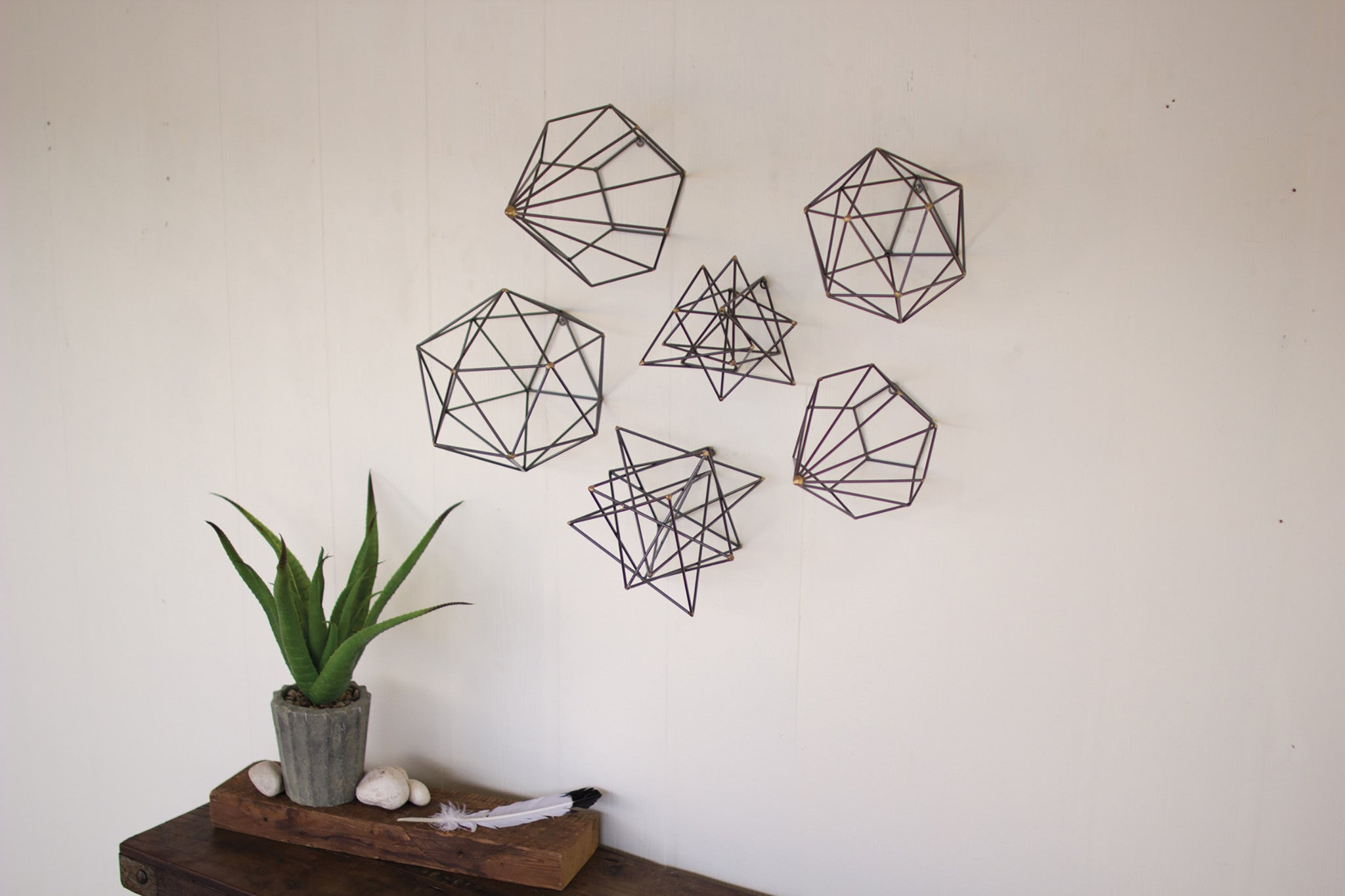 Geometric Metal Wire Wall Art - Set of 6 & Geometric Metal Wire Wall Art - Set of 6 - Woodwaves