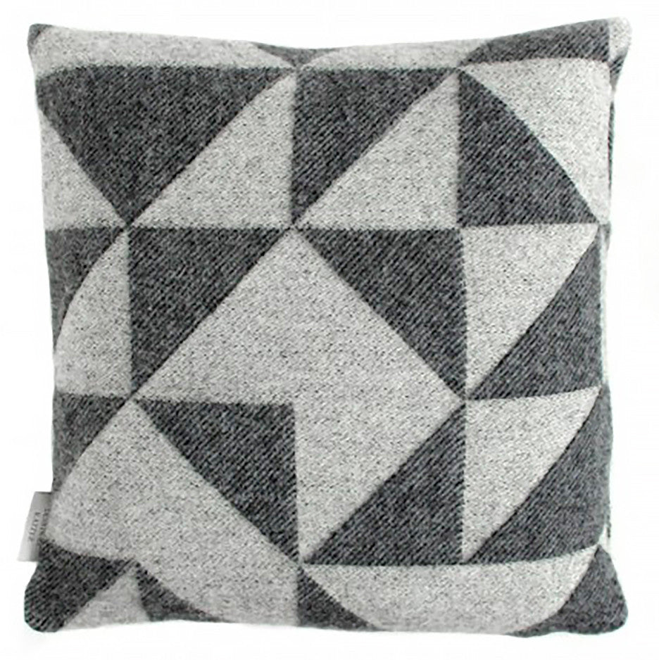 Geometric Triangle Black and Gray Luxury Merino Wool Pillow Cover