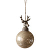 Glass Ball With Deer Head Christmas Ornament