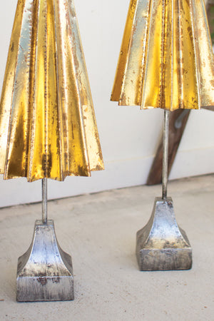 Gold Color Metal Christmas Trees - Set of 2
