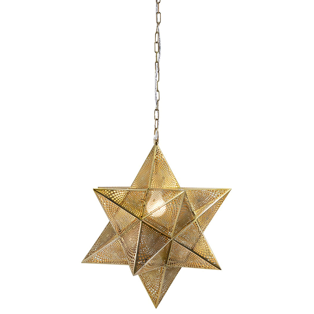 Gold star punched iron pendant lamp woodwaves gold star punched iron pendant lamp mozeypictures Gallery