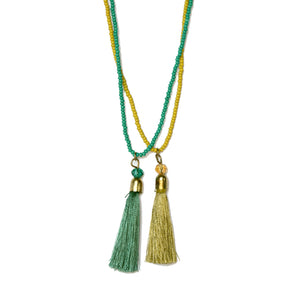 Gold and Green Handmade Bead and Tassel Necklace - Set of 2