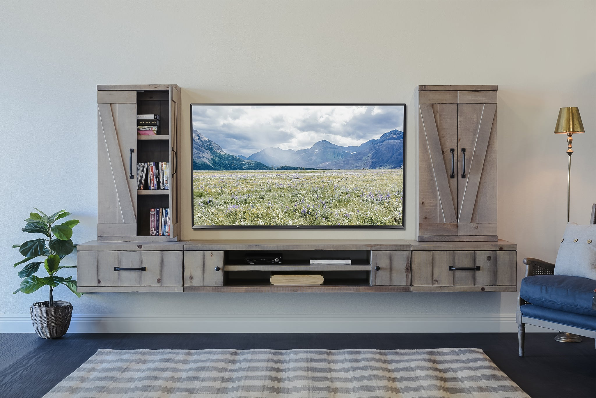 Gray Barn Door Floating TV Stand Wall Mount Entertainment Center - Farmhouse - Lakewood