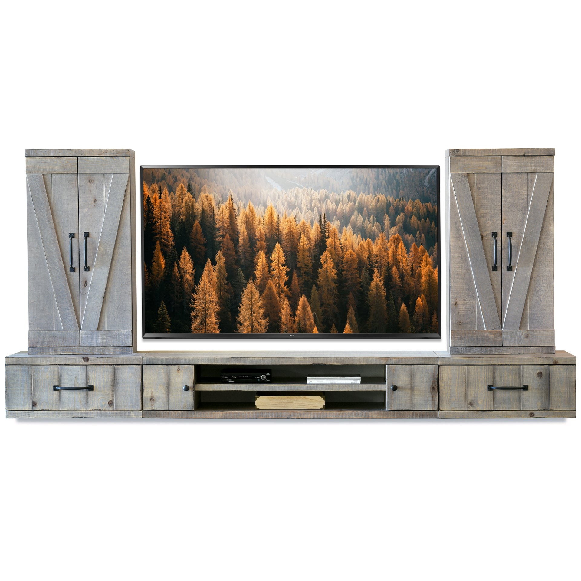 Gray Barn Door Floating Tv Stand Wall Mount Entertainment Center Far Woodwaves