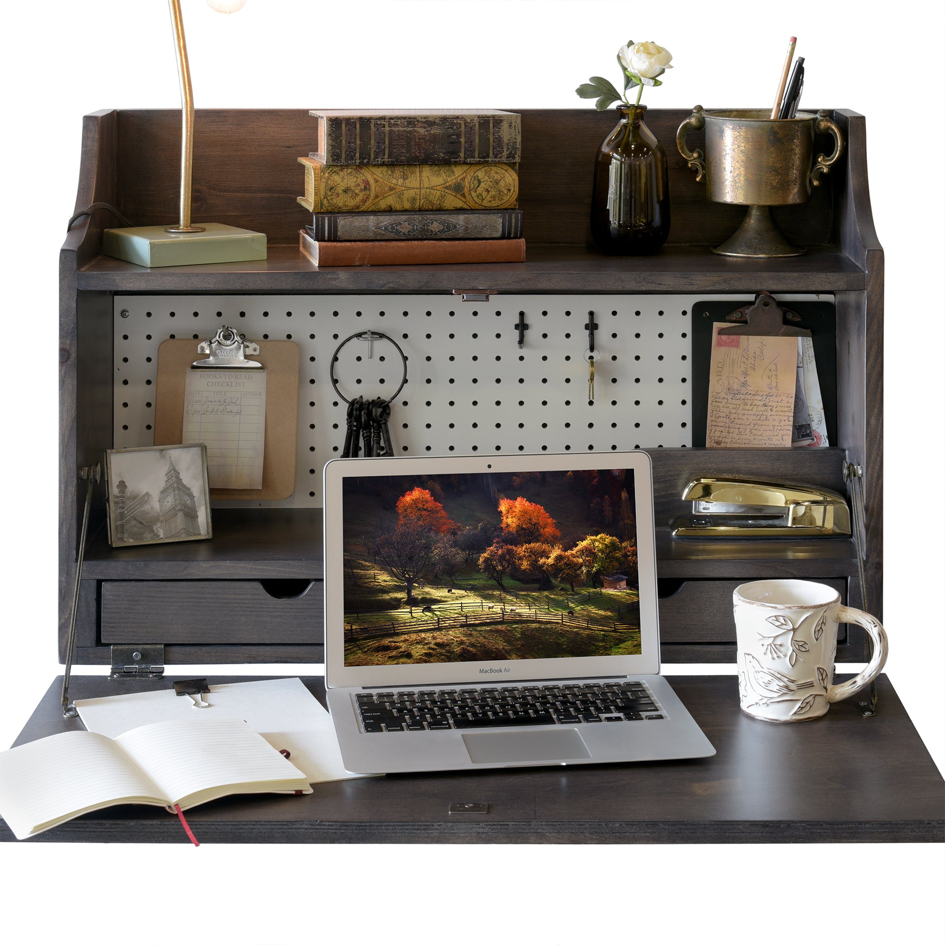Pewter Gray Floating Desk Wall Mount Fold Down Craft Table Workstation - Monterey