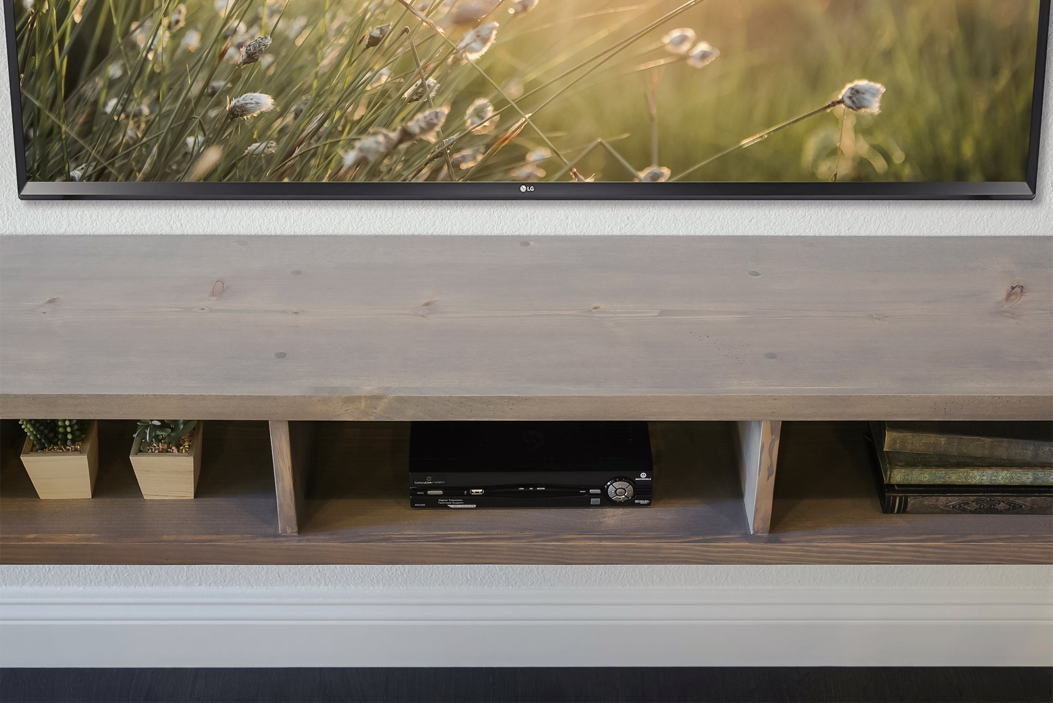 Light Gray Floating TV Stand Wall Mount Console - Dusk - Monterey