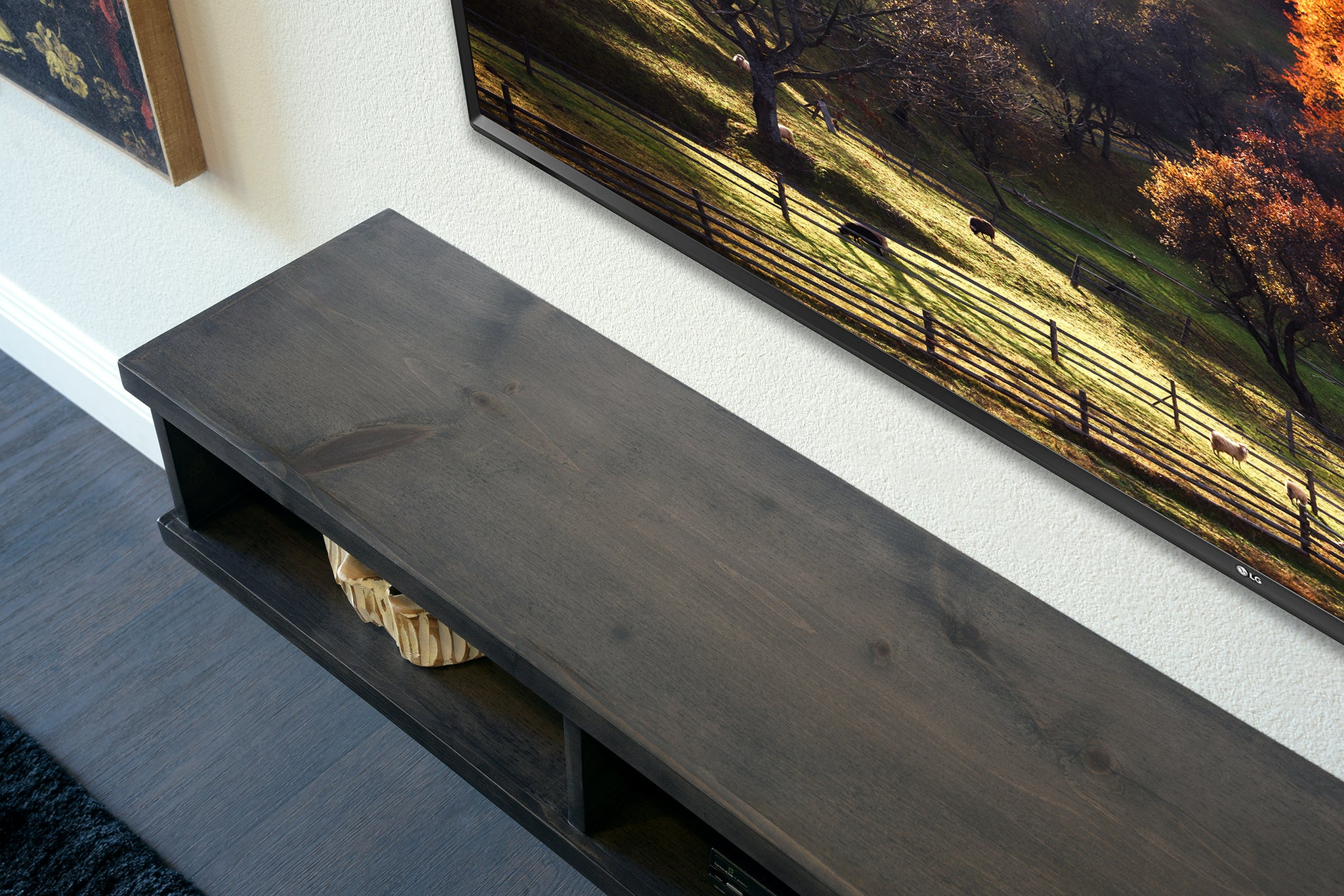 Pewter Gray Floating TV Stand Rustic Modern Console - Monterey
