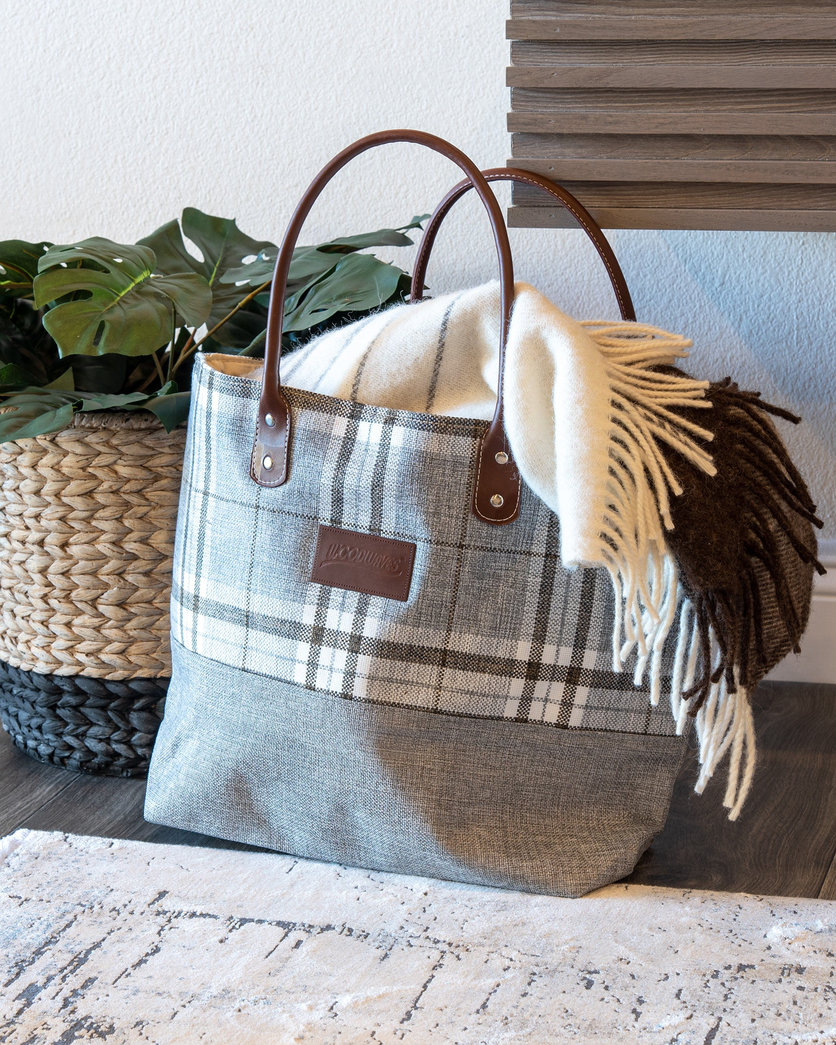 Woodwaves Gray Plaid Tote