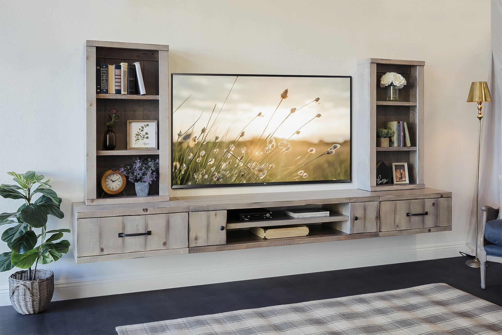 Gray Rustic Floating TV Stand Farmhouse Entertainment Center Console - Lakewood
