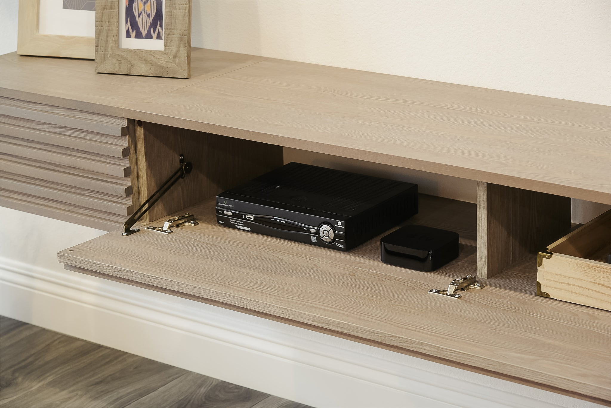 Gray Floating TV Stand Entertainment Center - Lotus II