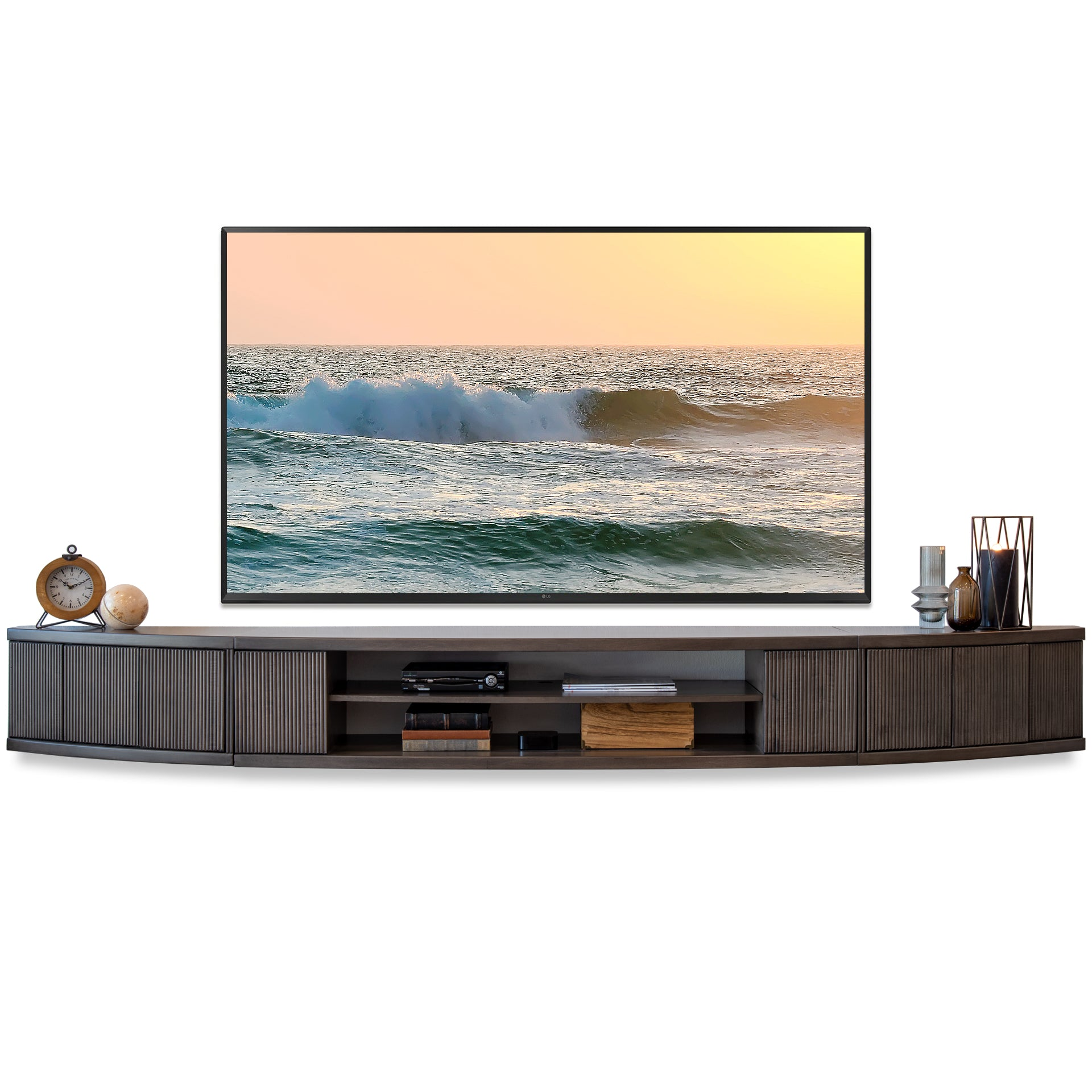 Gray Floating TV Stand Wall Mount Entertainment Center Console - Arc - Greystone