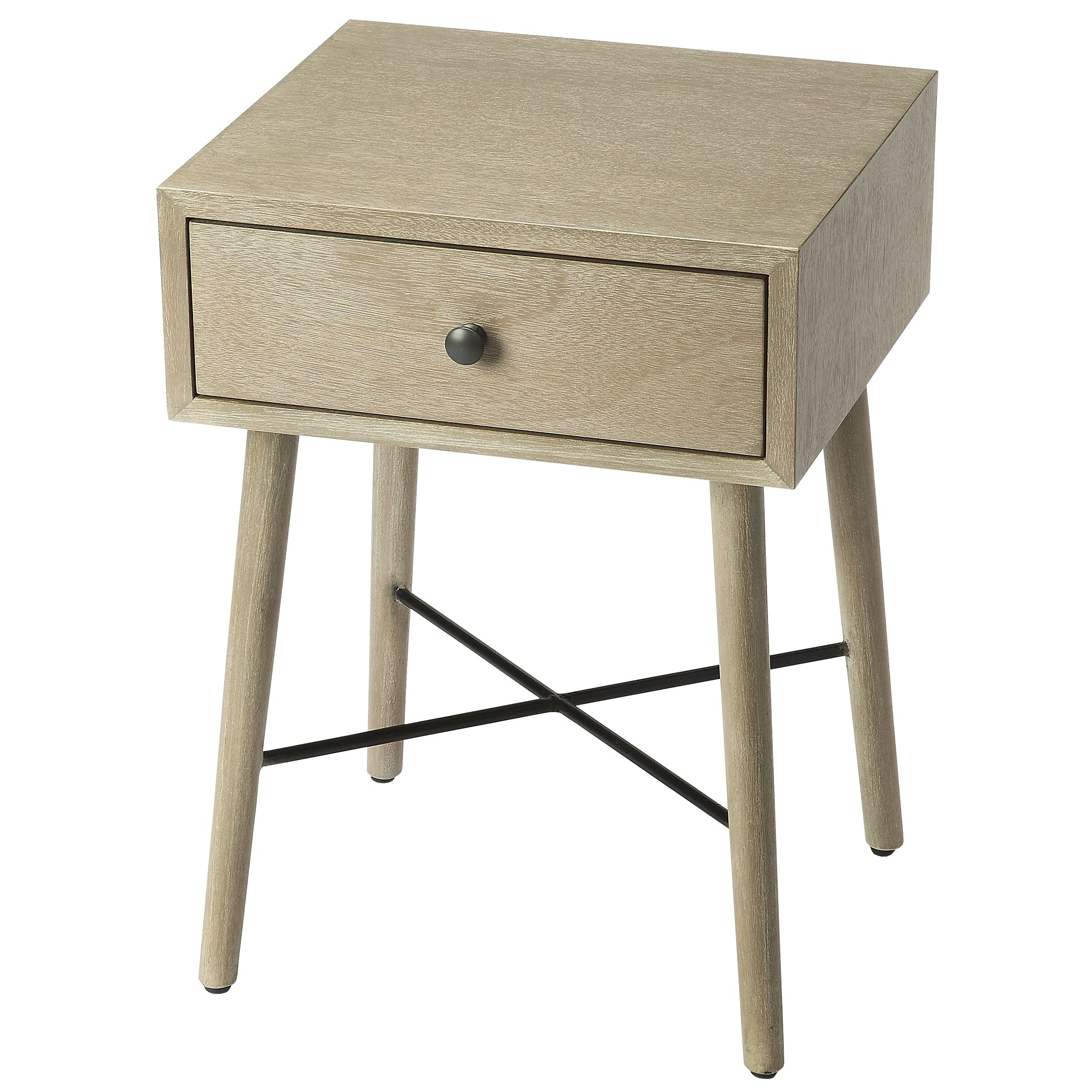 Gray Mid Century Modern Nightstand End Table