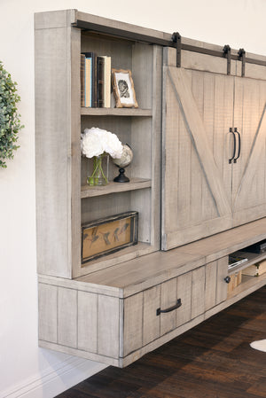 Barn Door Floating TV Stand Entertainment Center - Farmhouse - Driftwood Gray