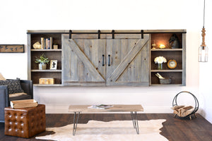 Gray Rustic Wood Wall Mount Barn Door Media TV Cabinet Cover - Farmhouse - Lakewood