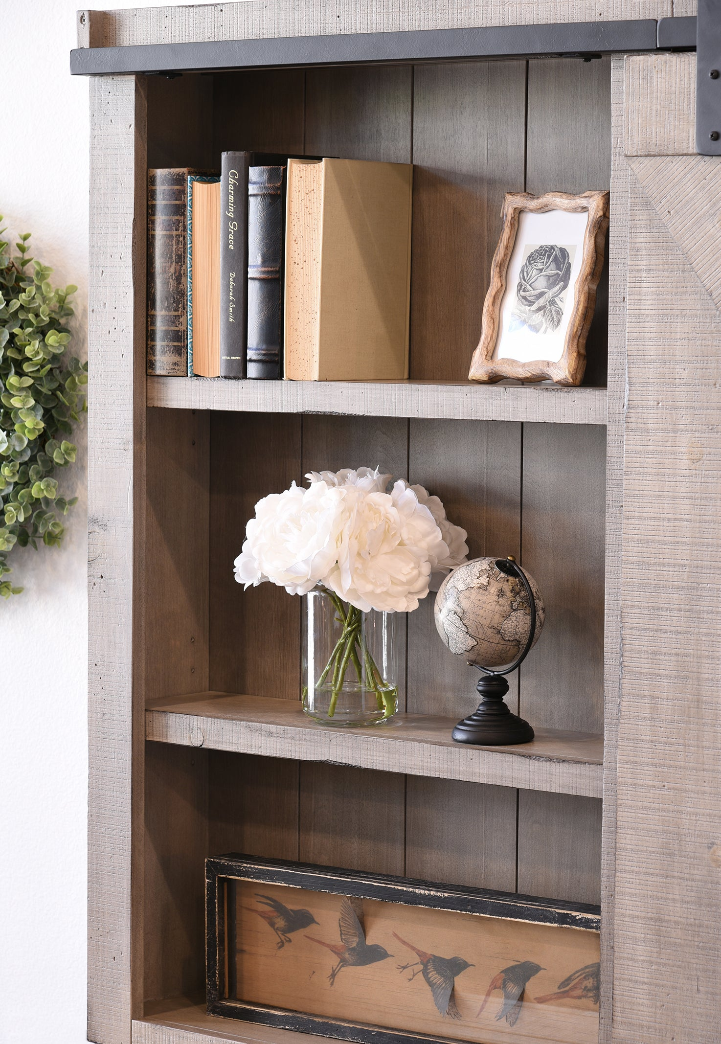 Very Gray Wall Mount TV Cabinet Cover Barn Door - Farmhouse - Driftwood  XS54