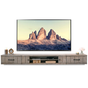Gray Rustic Barn Wood Style Floating TV Stand Entertainment Center - Farmhouse - Driftwood