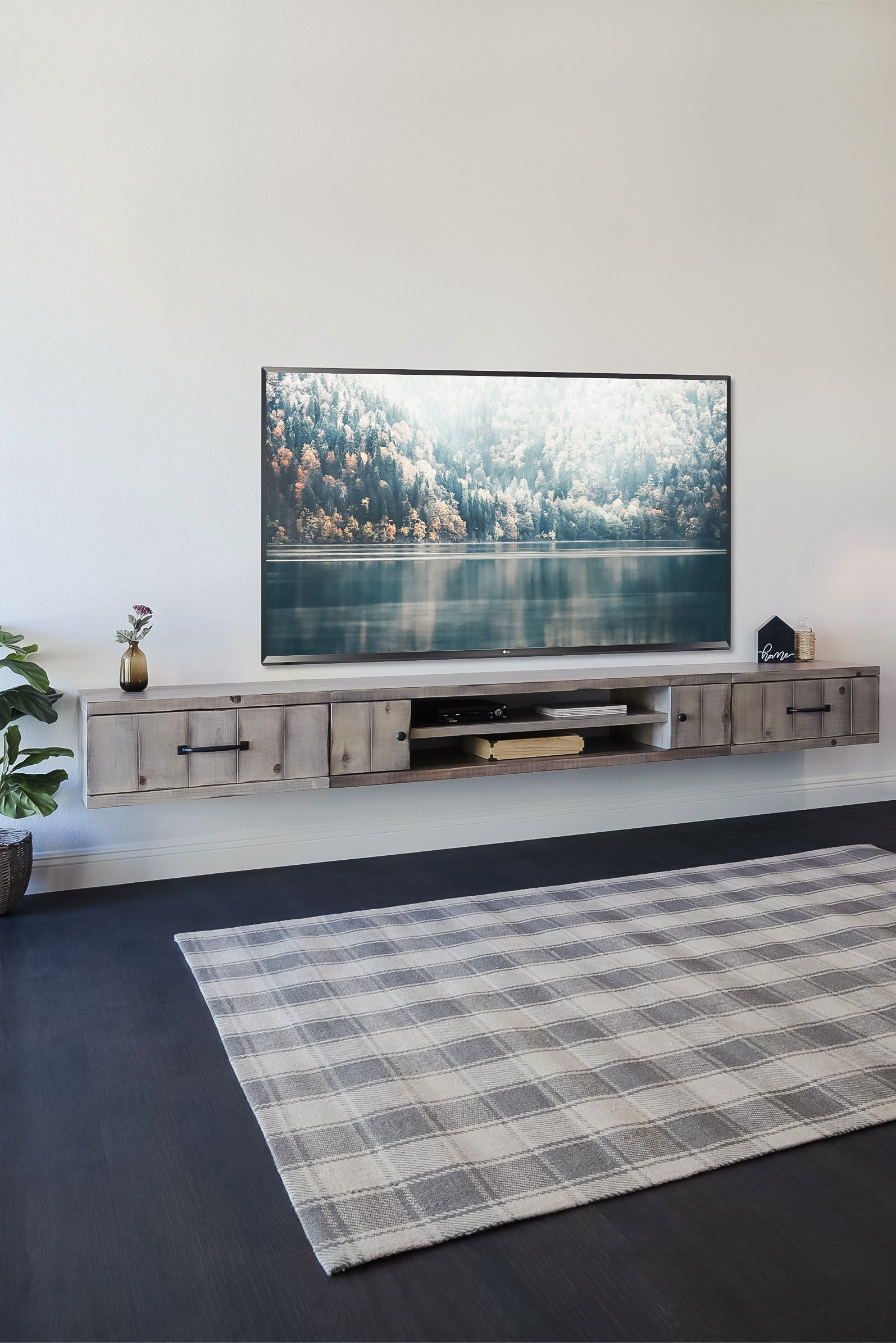 Gray Rustic Barn Wood Style Floating TV Stand Entertainment Center - Farmhouse - Lakewood