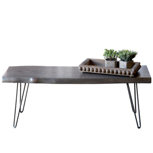 Gray Brown Live Edge Slab Coffee Table Bench