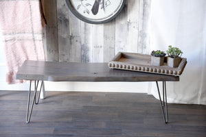 Gray Brown Reclaimed Live Edge Slab Coffee Table Bench