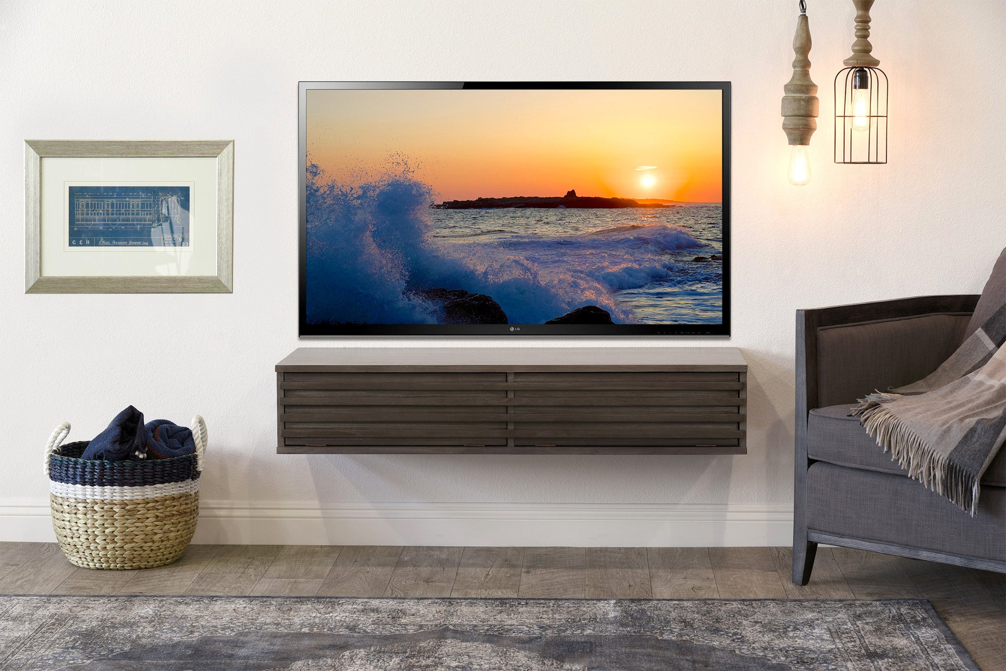 Floating Tv Stand Floating Wall Mount Tv Stand Lotus Driftwood Gray Woodwaves