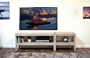 Gray Beach House Coastal TV Stand Entertainment Center - presEARTH Driftwood 2 Piece