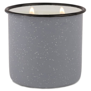 Gray Enamel Camping Mug Candle - Leather & Oak - Woods Scented