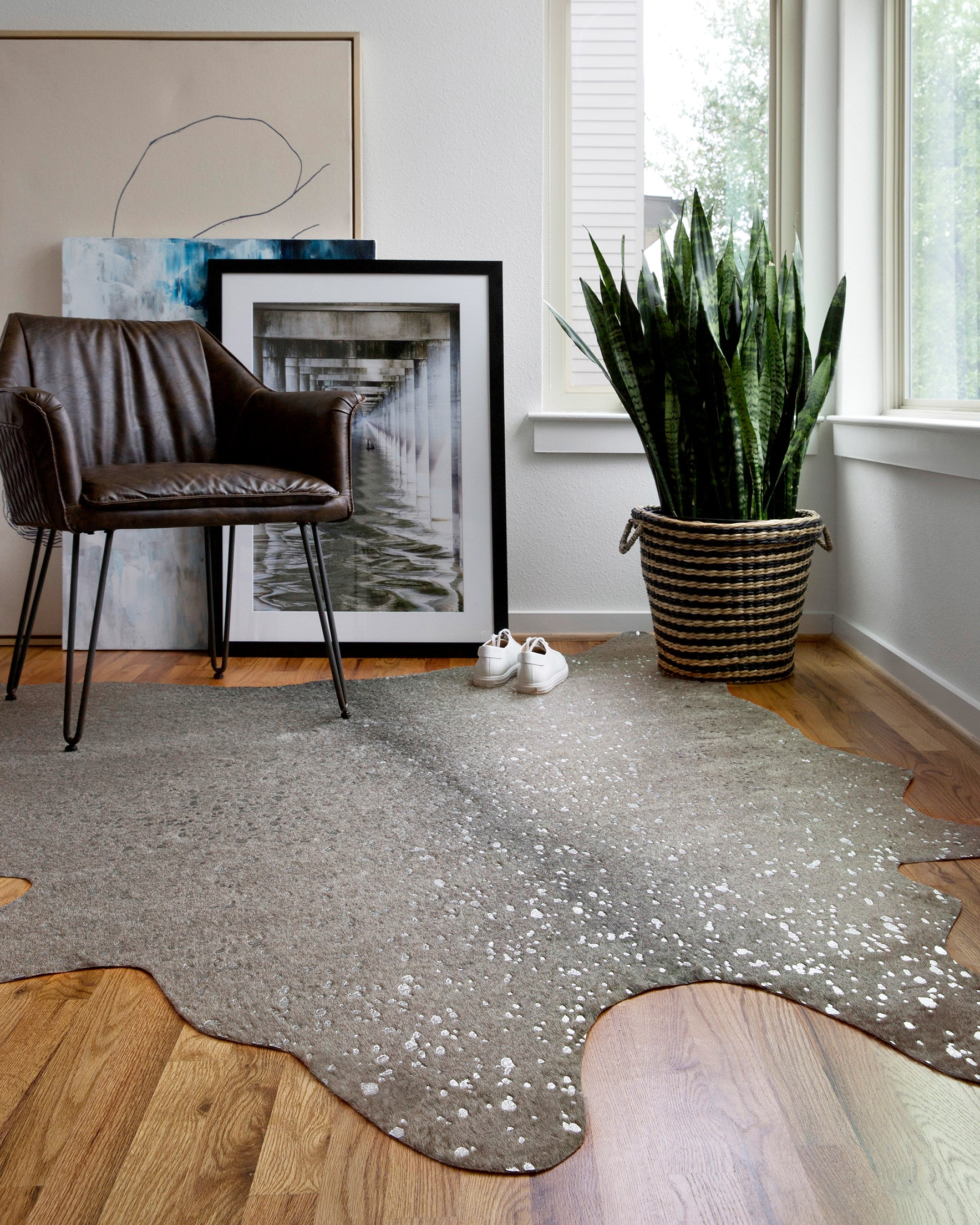Gray Cowhide Rug With Silver Details