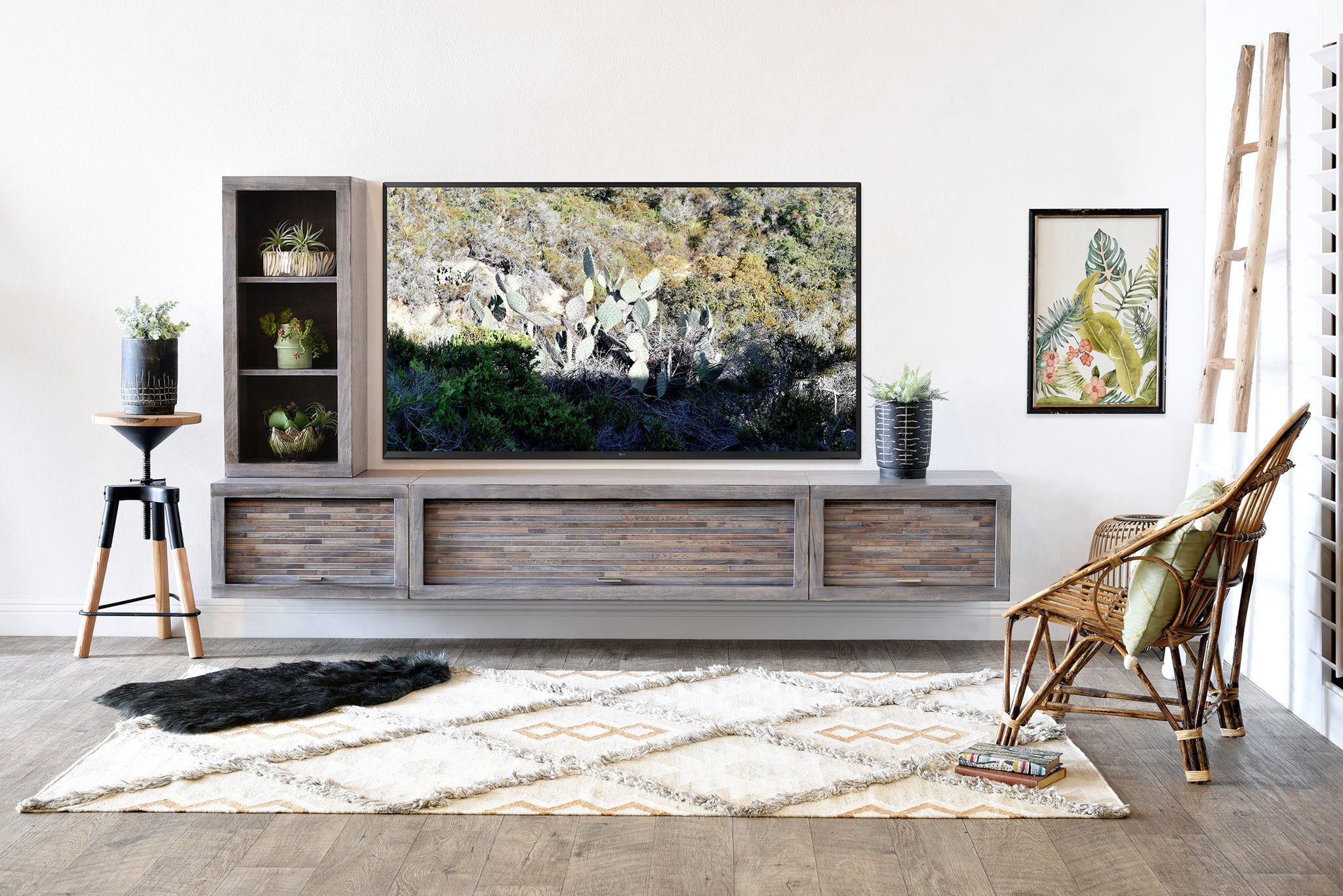 new product 3688d b806d Gray Floating TV Stand Modern Wall Mount Entertainment Center Console - ECO  GEO Lakewood