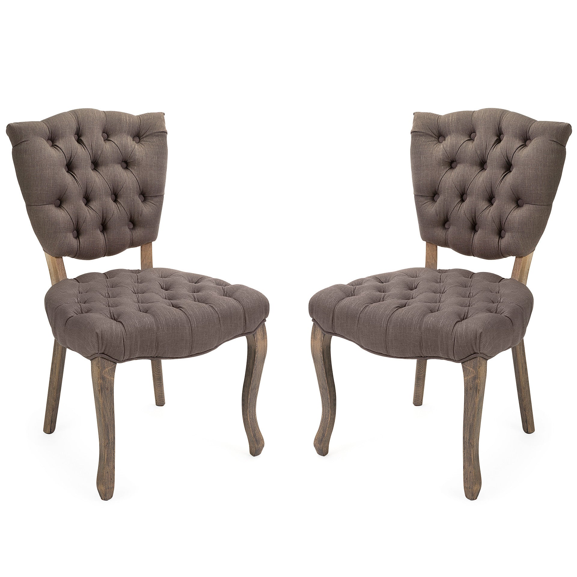 Gray Farmhouse Cottage Linen Chairs - Set of 2