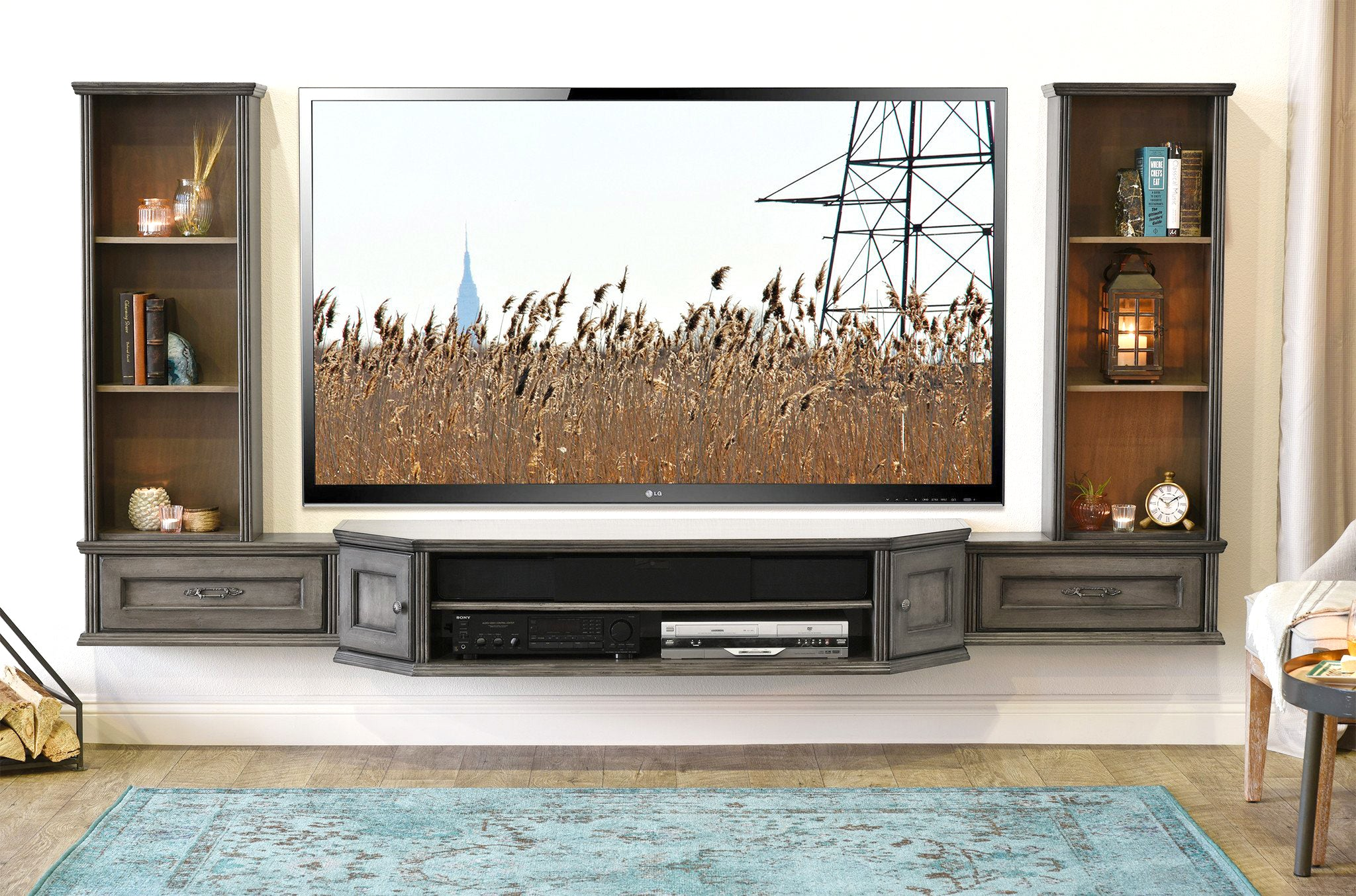 French Shabby Chic Floating TV Stand Entertainment Center Wall ...